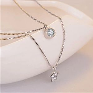 Sterling Silver 925 Double Necklace CZ